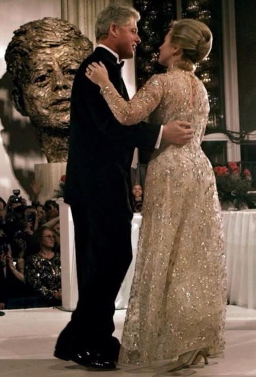 Hilary wearing OdlR gown